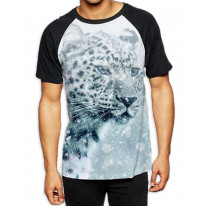Leopard Face in Snow Men's All Over Graphic Contrast Baseball T Shirt