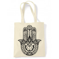 Tribal Hamsa Hand Of Fatima Tattoo Large Print Tote Shoulder Shopping Bag
