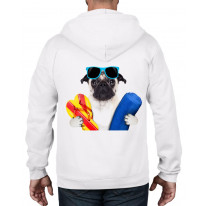 Pug Dog On Holiday Funny Unisex Full Zip Up Hoodie