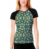 Paisley Pattern Teal Women's All Over Graphic Contrast Baseball T Shirt