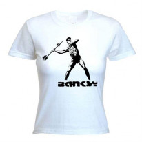 Banksy Stop And Search Ladies T-Shirt