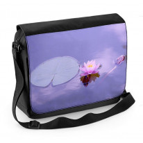Lotus Water Lily Purple Background Laptop Messenger Bag