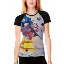 Wassily Kandinksy Red Yellow Blue Composition Women's All Over Graphic Contrast Baseball T Shirt