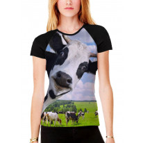 Cow Herd Funny Women's All Over Print Graphic Contrast Baseball T Shirt