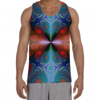 Psychedelic Fractal Red Pattern Men's All Over Print Graphic Vest Tank Top