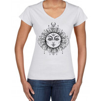 Boho Sun Hipster Tattoo Large Print V Neck Women's T-Shirt