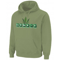 Cannabis Periodic Table Marijuana Pouch Pocket Pull Over Hoodie