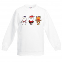Santa Snowman and Reindeer Christmas Kids Jumper \ Sweater