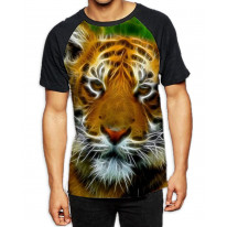 Abstract Tiger Face Men's All Over Print Graphic Contrast Baseball T Shirt