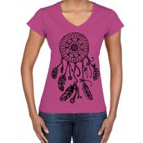 Dreamcatcher Native American Hipster Large Print V Neck Women's T-Shirt