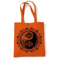 Yin and Yang Mandala Hipster Tattoo Large Print Tote Shoulder Shopping Bag