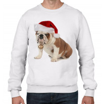 Bulldog With Santa Claus Hat Christmas Men's Jumper \ Sweater