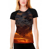 Flamingo Birds Flying in Sunset Women's All Over Graphic Contrast Baseball T Shirt