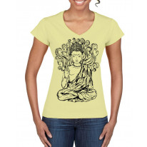Buddha Design Large Print V Neck Women's T-Shirt