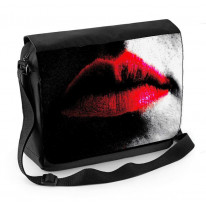 Red Lips on Black and White Face Laptop Messenger Bag
