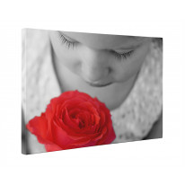 Child Smelling a Rose Box Canvas Print Wall Art - Choice of Sizes
