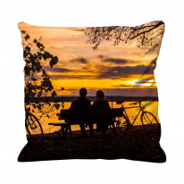 Couple Sat by Lake with Autumn Sunset Faux Silk 45cm x 45cm Sofa Cushion