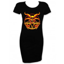 Fire Pentagram Short Sleeve T-Shirt Dress