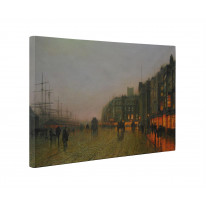 John Atkinson Grimshaw Liverpool Docks from Wapping Box Canvas Print Wall Art - Choice of Sizes