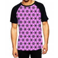 Pink Stars Pattern  Men's All Over Graphic Contrast Baseball T-Shirt