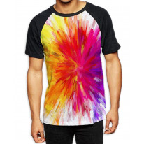 Abstract Rainbow Colour Explosion Men's All Over Print Graphic Contrast Baseball T Shirt