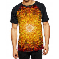 Flower of Life Red Pattern Men's All Over Graphic Contrast Baseball T Shirt
