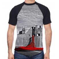 Tower of London Poppies Black and White Men's All Over Graphic Contrast Baseball T Shirt