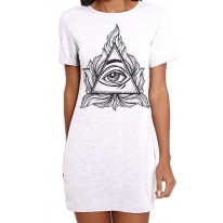 All Seeing Eye In A Triangle Illuminati Large Print Women's T-Shirt Dress