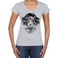 Devil Girl Satanic Cross Tattoo Large Print V Neck Women's T-Shirt