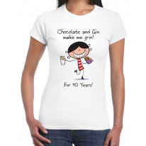 Chocolate & Gin Make Me Grin Women's 90th Birthday Present T-Shirt