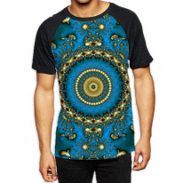 Tie Dye Pattern Men's All Over Graphic Contrast Baseball T Shirt