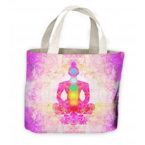 Lotus Pose Chakras Yoga Tote Shopping Bag For Life