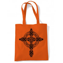 Celtic Cross Tattoo Style Hipster Large Print Tote Shoulder Shopping Bag