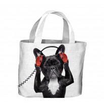 French Bulldog DJ Tote Shopping Bag For Life