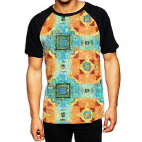 Abstract Mosaic Tile Painting  Men's All Over Graphic Contrast Baseball T-Shirt