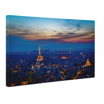 Paris Skyline at Night Box Canvas Print Wall Art - Choice of Sizes