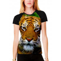Abstract Tiger Face Women's All Over Print Graphic Contrast Baseball T Shirt