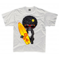 French Bulldog Surfer With Afro Hair Kids Childrens T-Shirt
