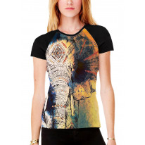 Elephant Painting Women's All Over Graphic Contrast Baseball T Shirt