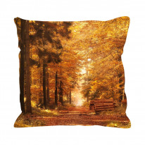 Forest Path in Autumn Faux Silk 45cm x 45cm Sofa Cushion