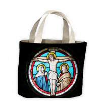 Jesus Crucifixion Stained Glass Tote Shopping Bag For Life