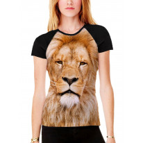 Lion's Face Women's All Over Graphic Contrast Baseball T Shirt