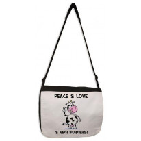 Peace, Love & Vegi Burgers Vegetarian Laptop Messenger Bag
