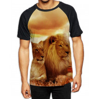 Lions Lying Down in Sunset Men's All Over Graphic Contrast Baseball T Shirt