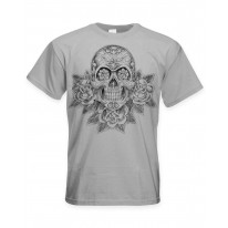 Skull and Roses Tattoo Large Print Men's T-Shirt