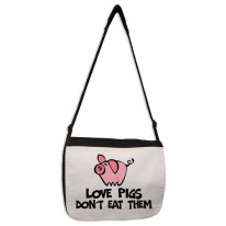 Love Pigs Don't Eat Them Vegetarian Laptop Messenger Bag