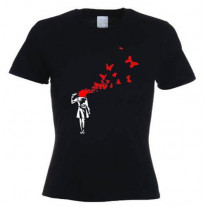 Banksy Butterfly Suicide Ladies T-Shirt