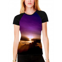 Violet Sunset Women's All Over Graphic Contrast Baseball T Shirt