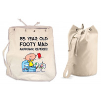 Footy Mad Armchair Referee Men's 85th Birthday Present Duffle Backpack Bag