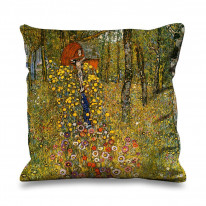 Gustav Klimt Farm Garden with Crucifix Faux Silk 45cm x 45cm Sofa Cushion
